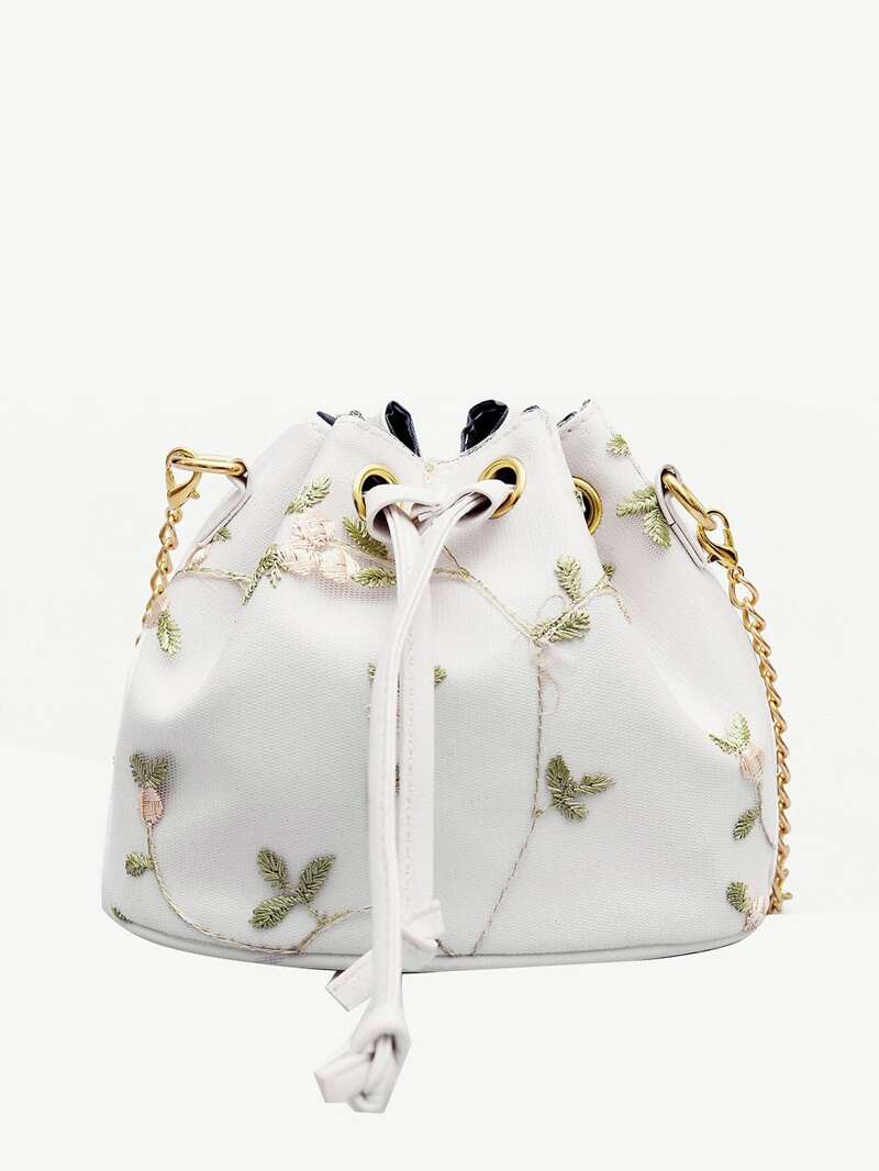 Floral Embroidered Bucket Bag With Drawstring, White