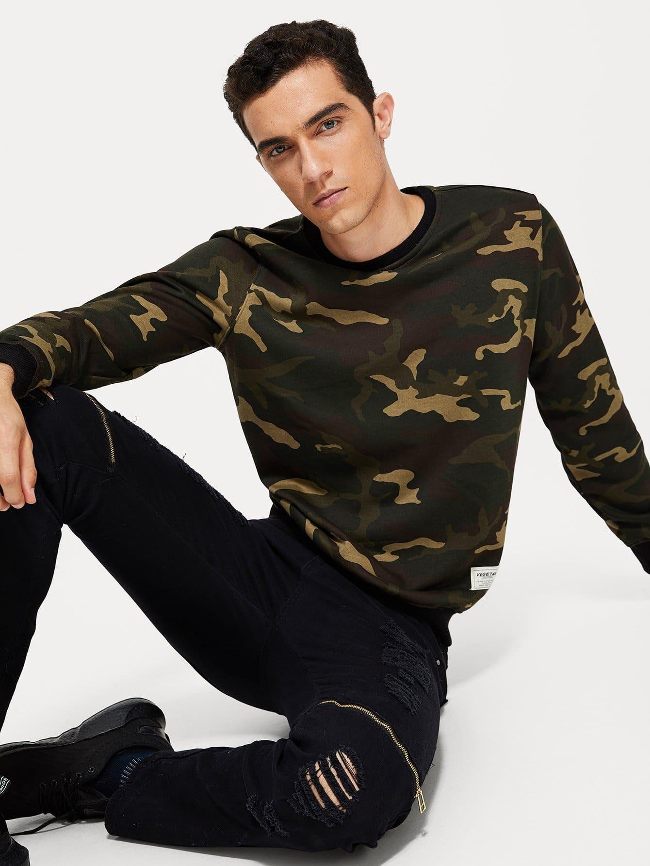 Men Camo Print Sweatshirts roamer часы roamer 941 637 41 53 90 коллекция saturn
