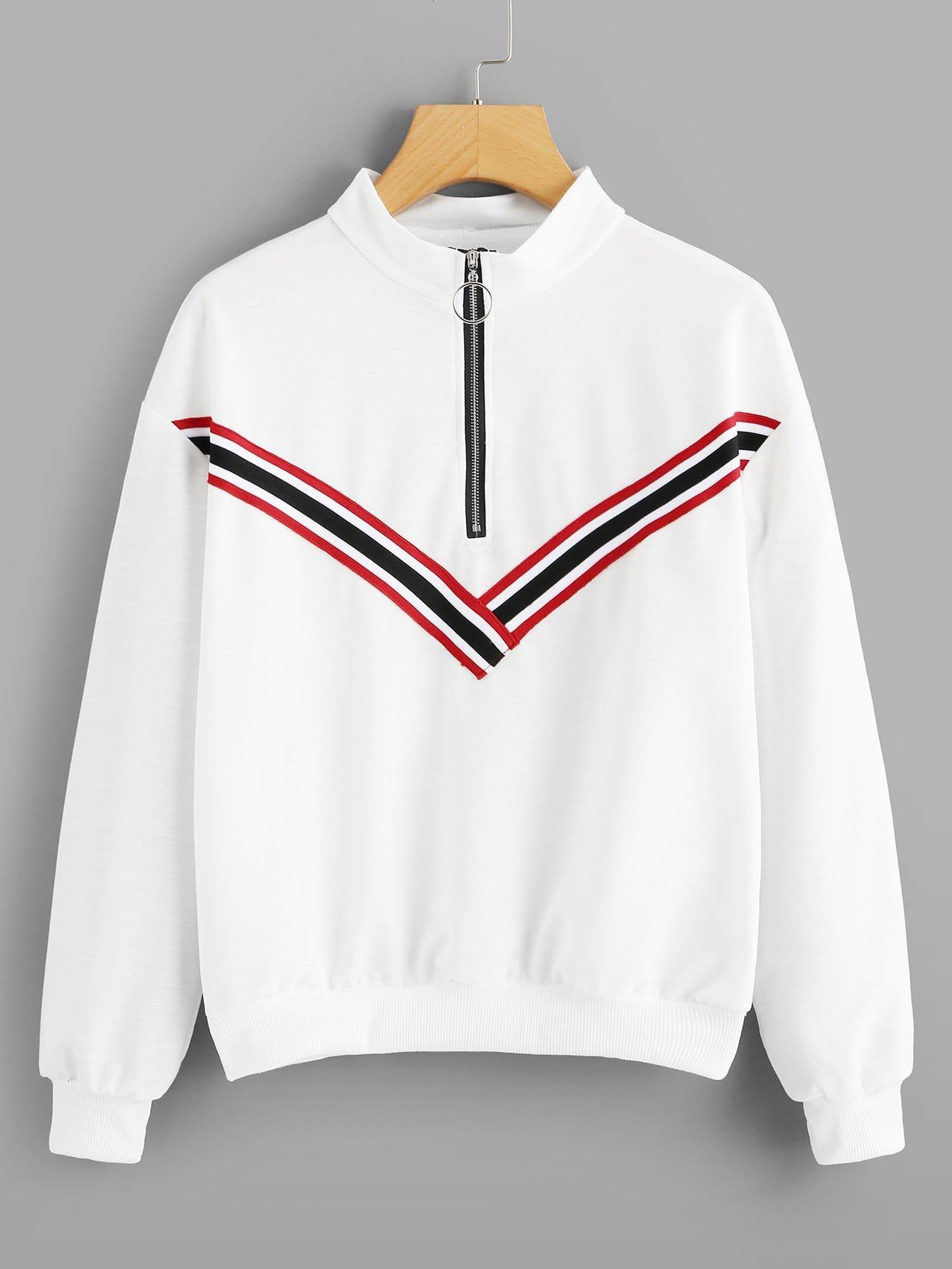 Купить Спортивная футболка с застёжкой молния и с украшением полосатых лент, null, SheIn