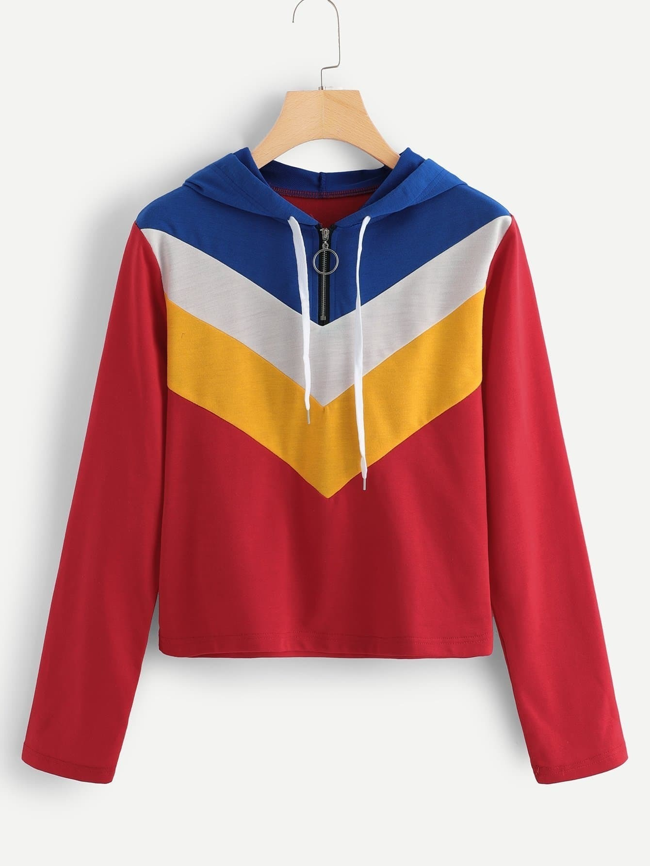 Chevron Panel Zip Up Sweatshirt