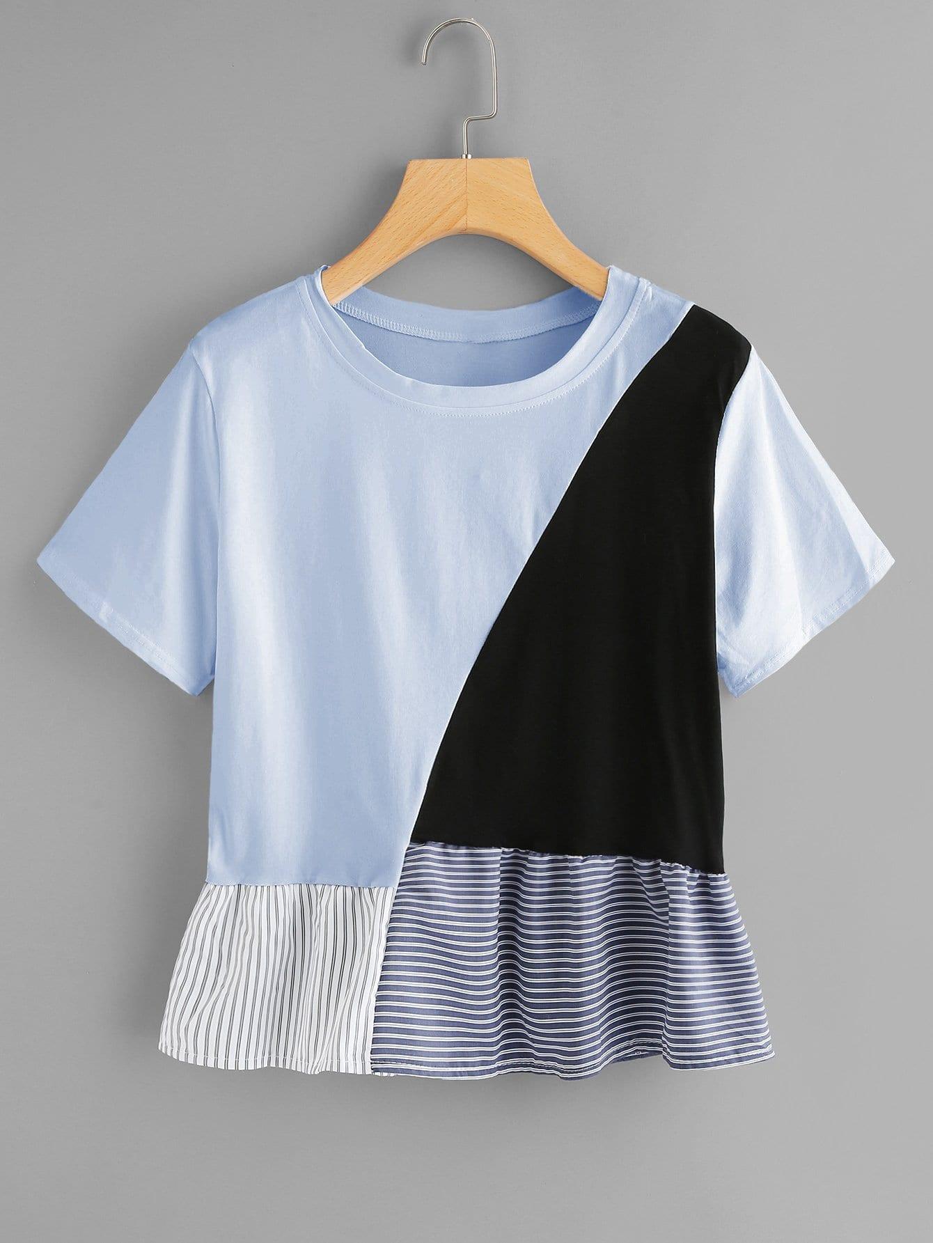 Купить Цветная кусковая футболка и подол с розеткой, null, SheIn