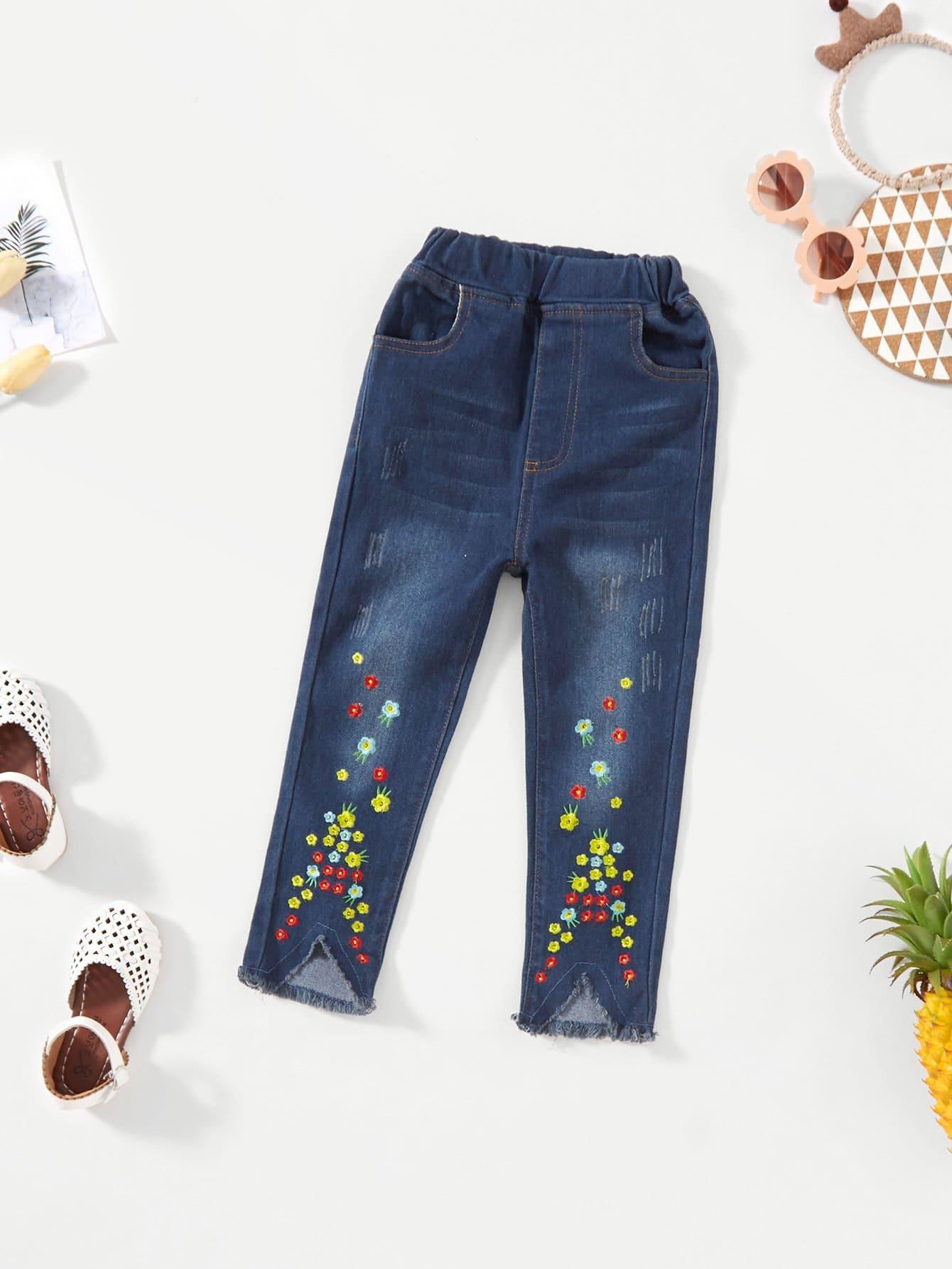 Girls Floral Embroidered Frayed Hem Jeans