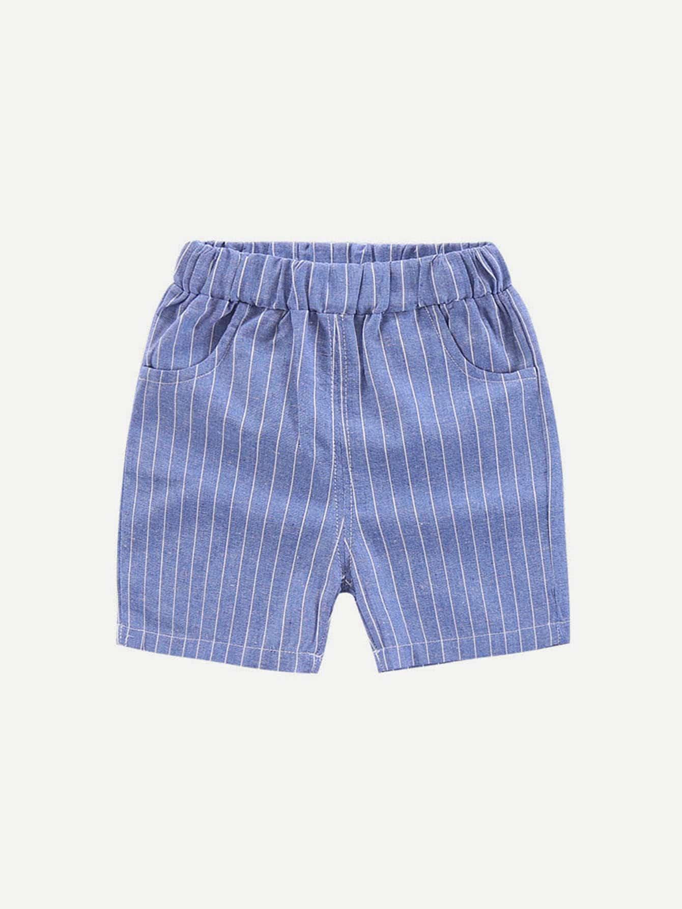 Купить Полосатые шорты и с басоном эластичным для мальчика, null, SheIn