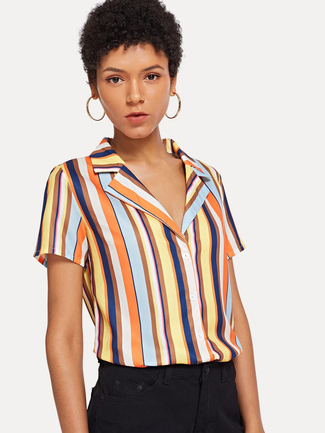 Купить Полосатая рубашка с V-образным вырезом, Ana, SheIn