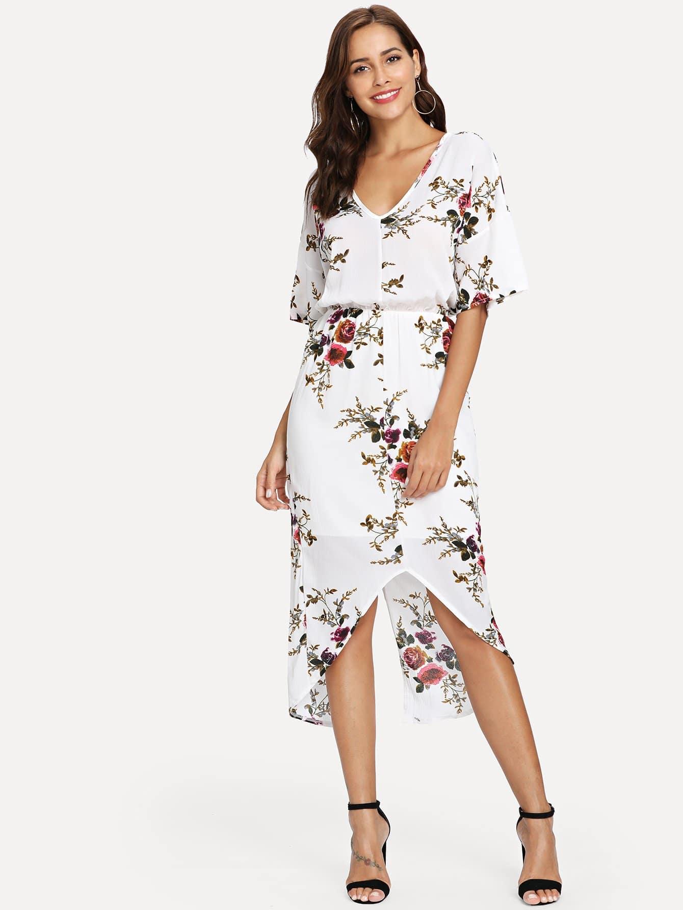 Floral Print V Neck Split Dress
