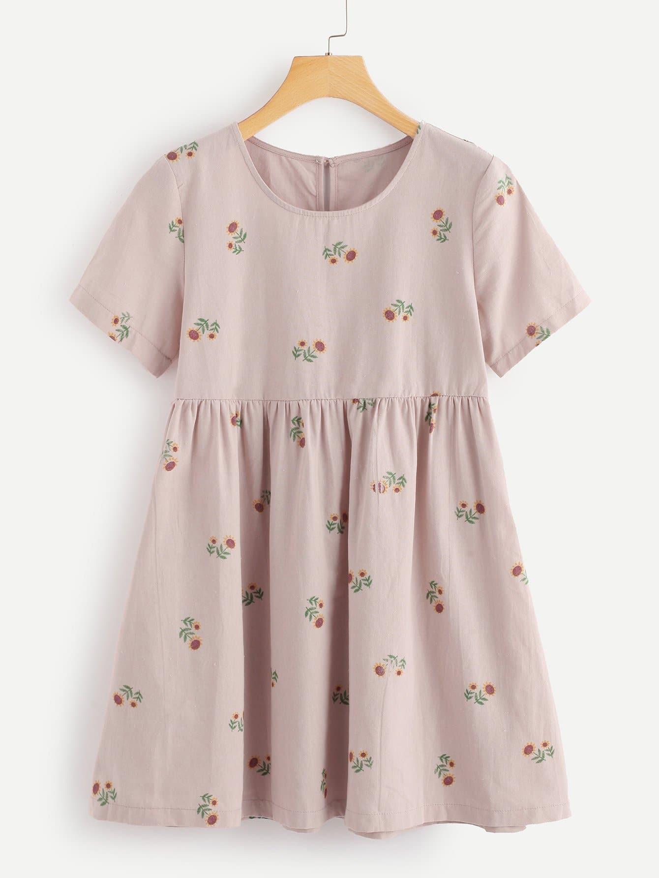 Купить Ситцевое платье и с замочной скважиной сзади одежды, null, SheIn