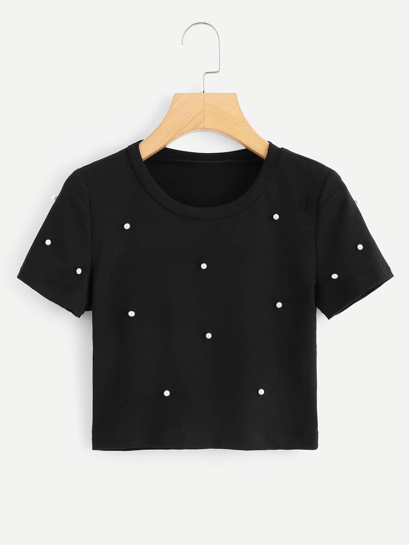 Купить Простая футболка с украшением жемчугов, null, SheIn