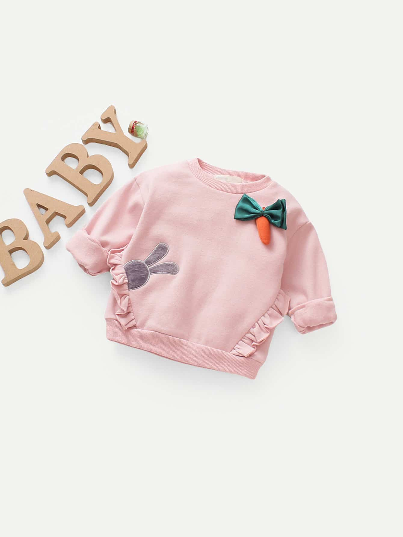 Girls Frill Trim Rabbit Embroidery Bow Detail Sweatshirt frill sleeve tape detail sweatshirt