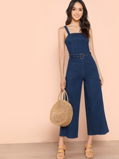 Denim Belted Wide Leg Jumpsuit with Dual Pockets BLUE