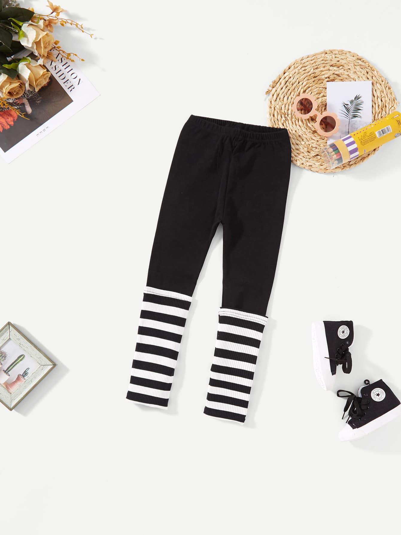 Купить Девушки Zebra Striped Leggings, null, SheIn