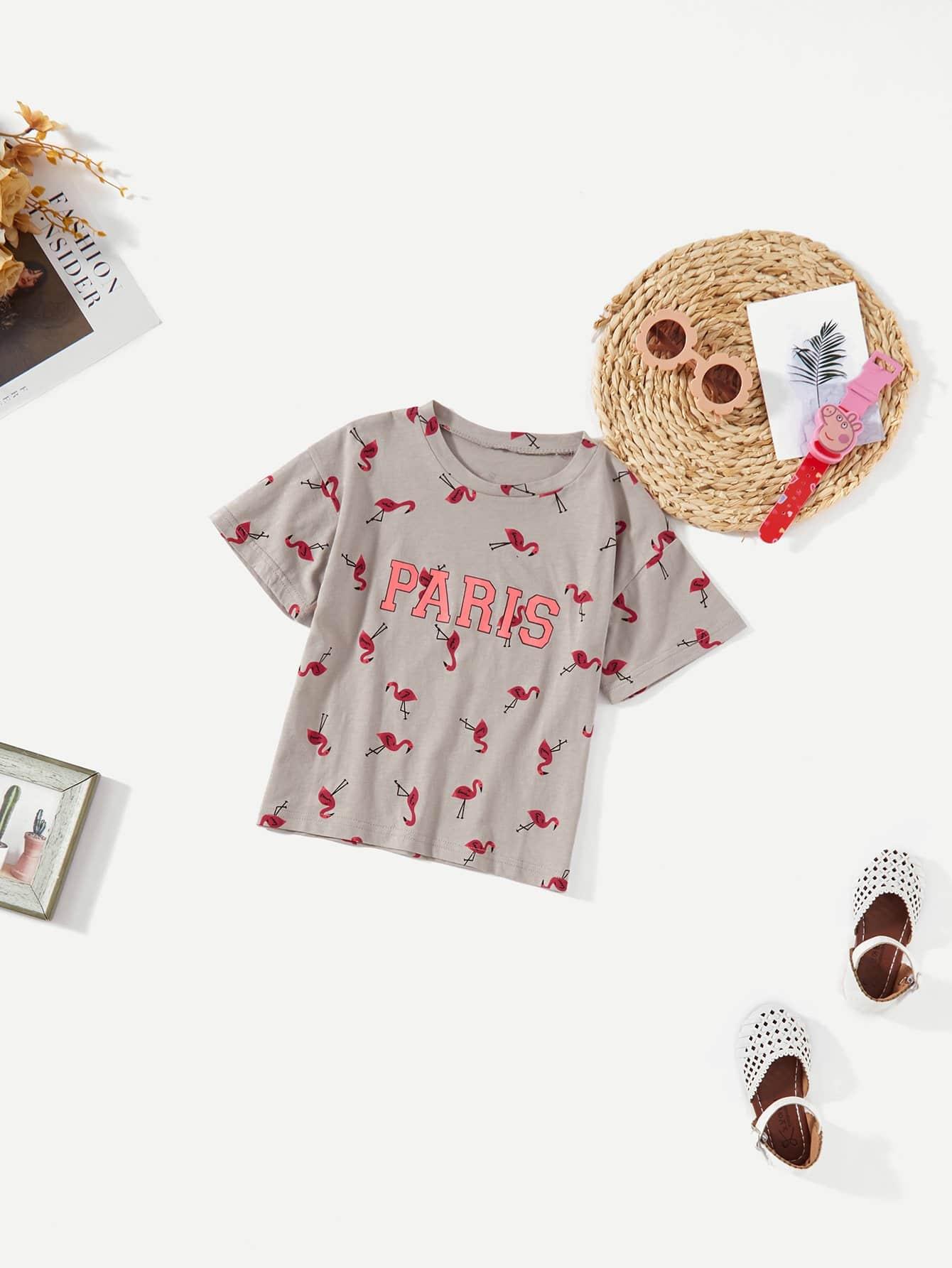 Девочки фламинго и Письмо печати футболка