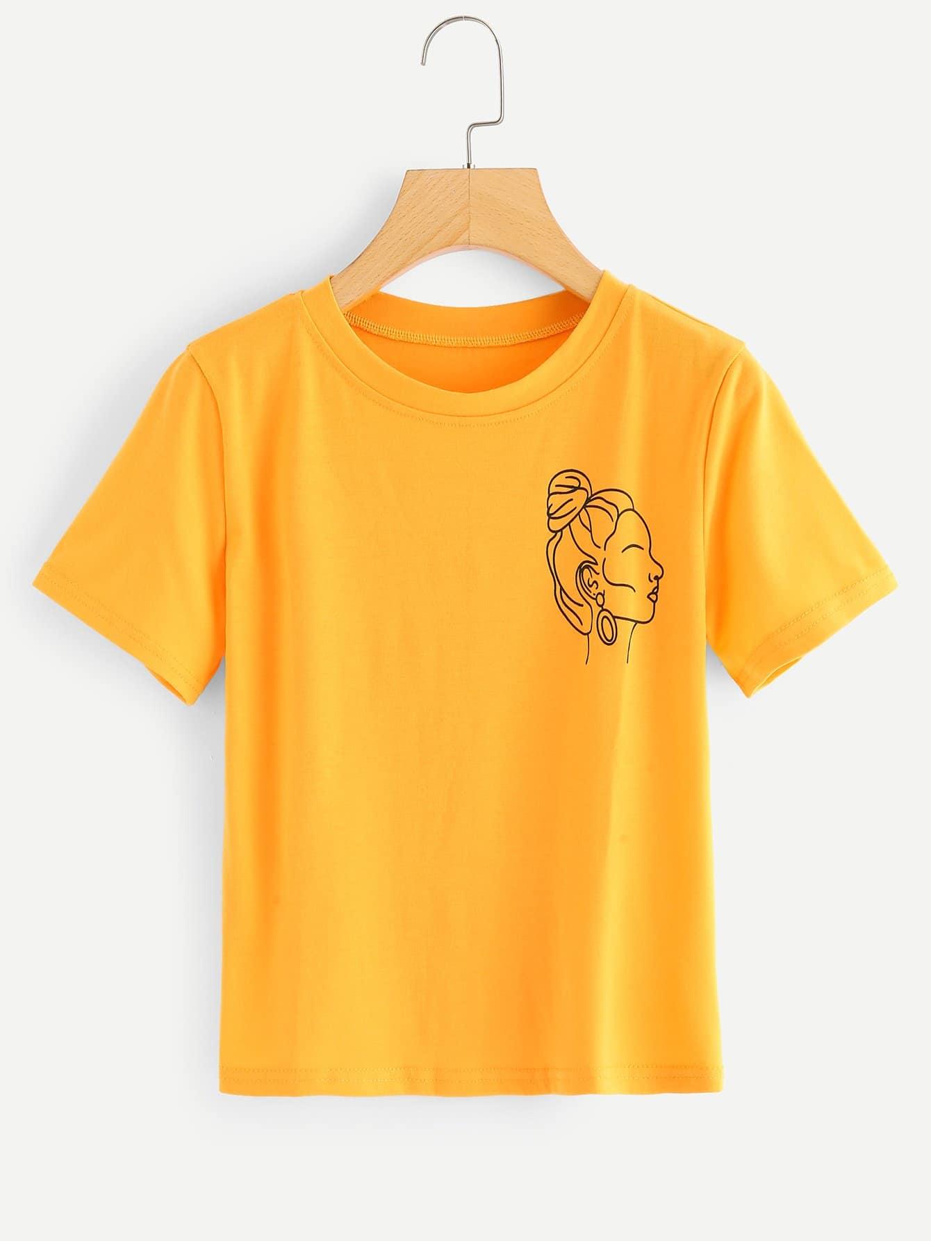 T-Shirt mit Abbildungmuster und Rundhals