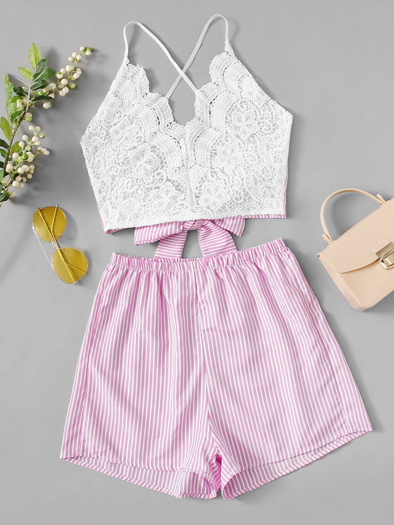Lace Panel Knot Striped Cami With Shorts