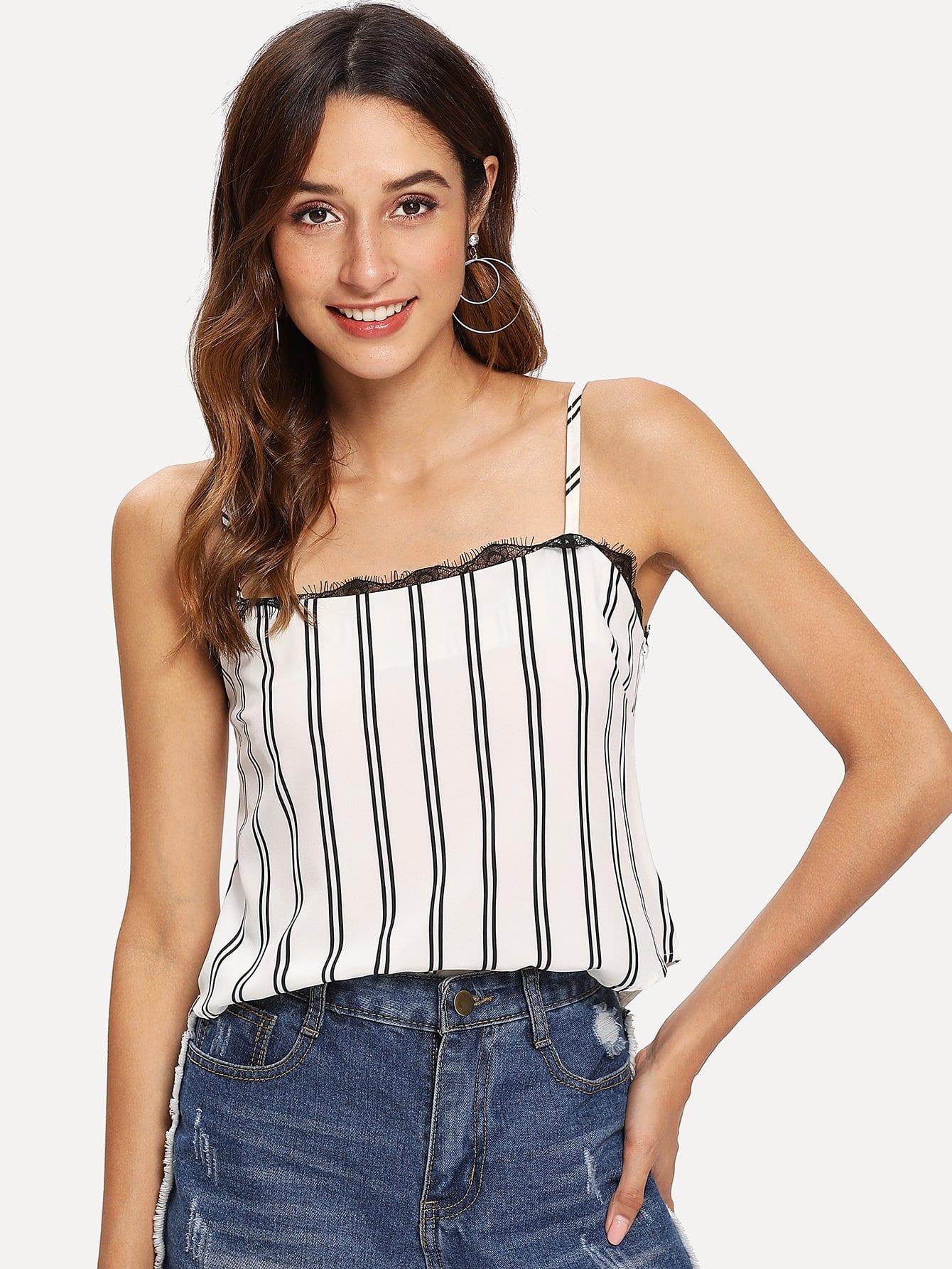 Купить Обегающая полосатая кружевная блузка, Gabi B, SheIn