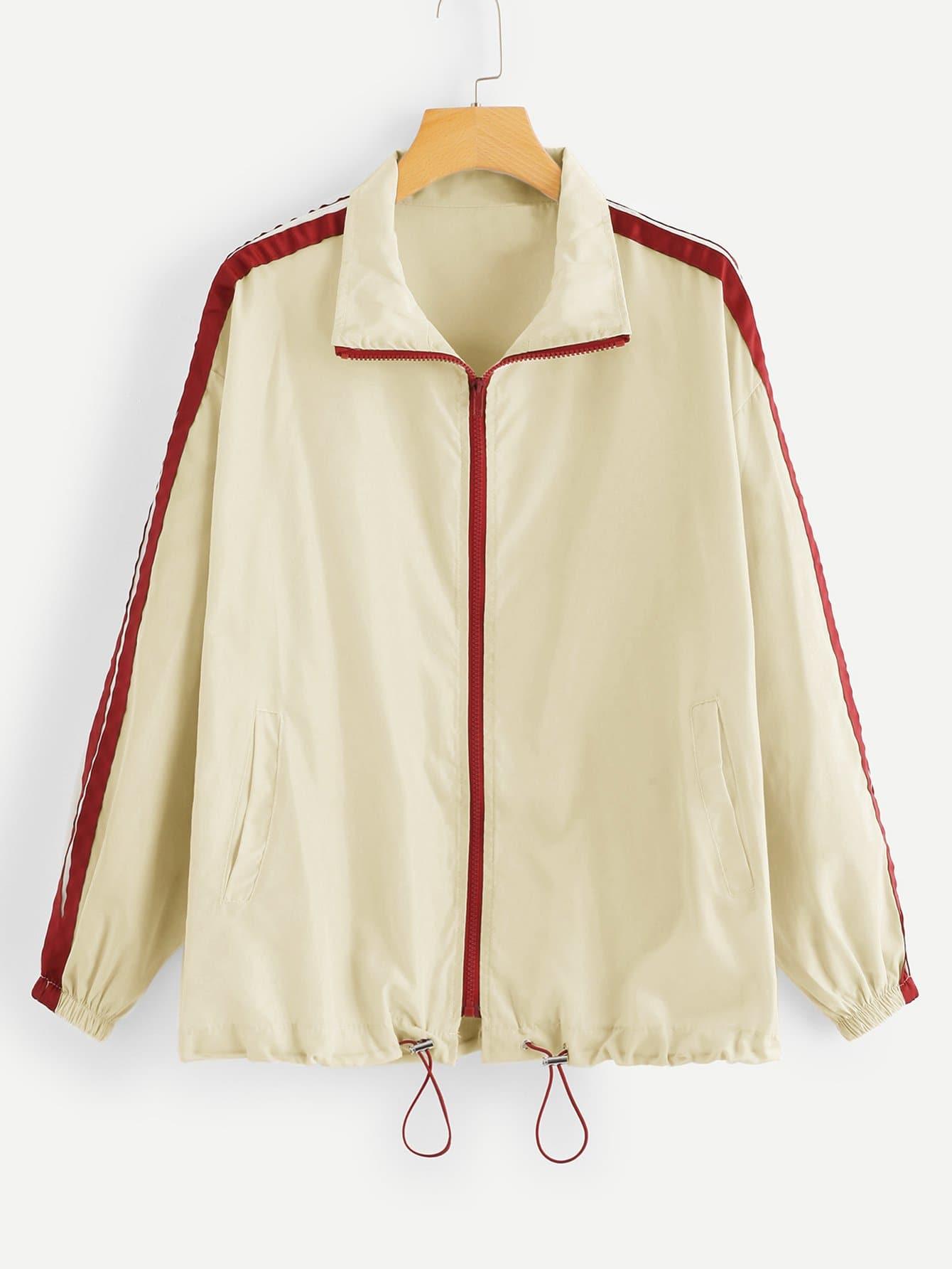 Contrast Trim Drawstring Hem Jacket
