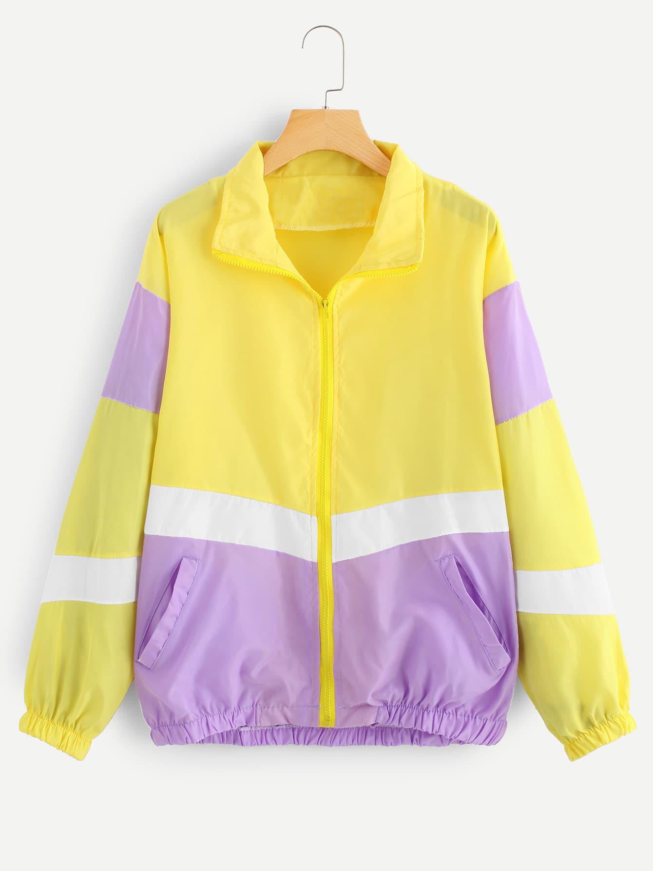 Color Block Zip Up Front Jacket