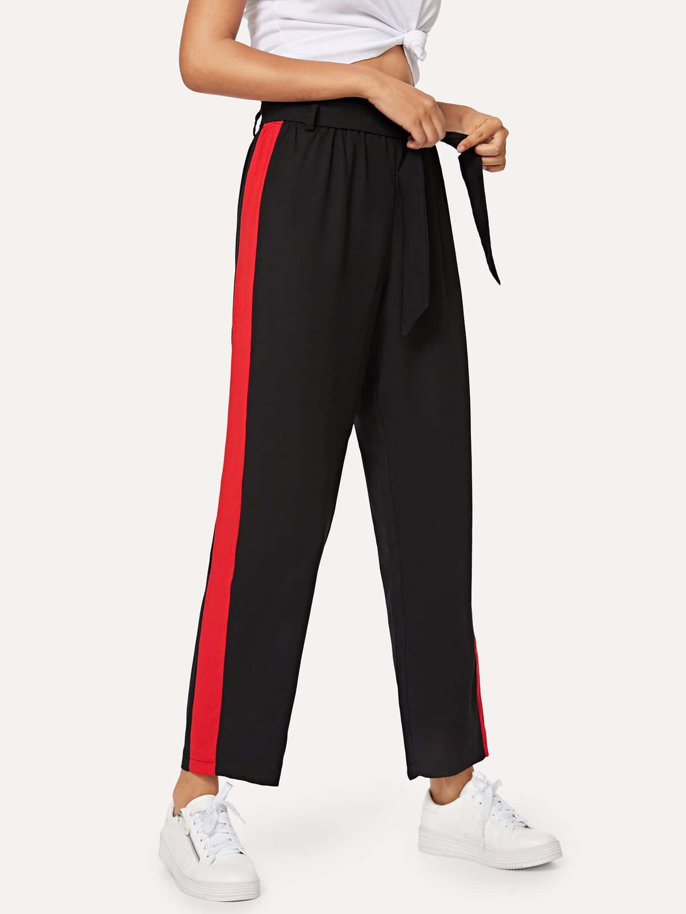 Tie Waist Colorblock Side Pants