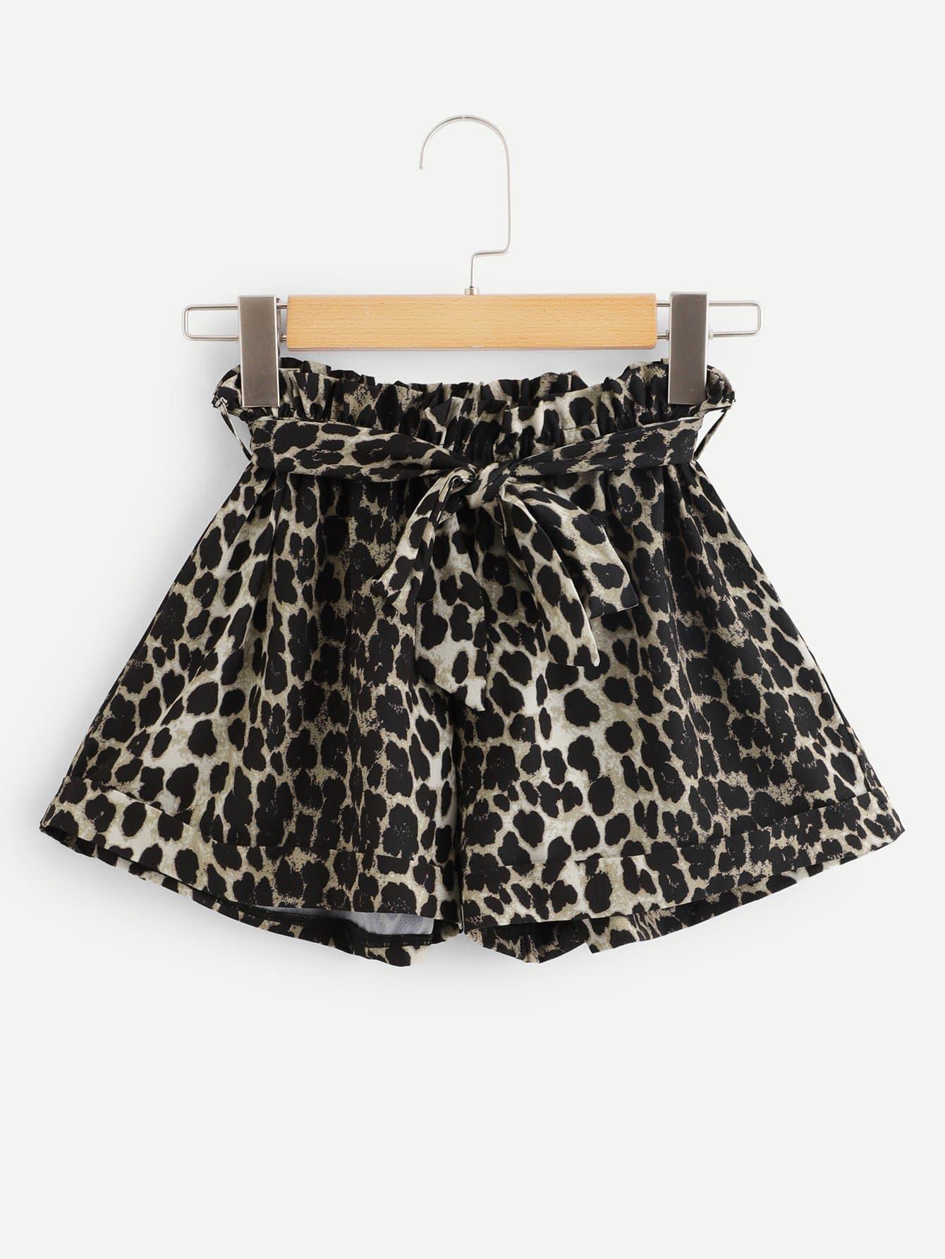Tie Waist Leopard Shorts