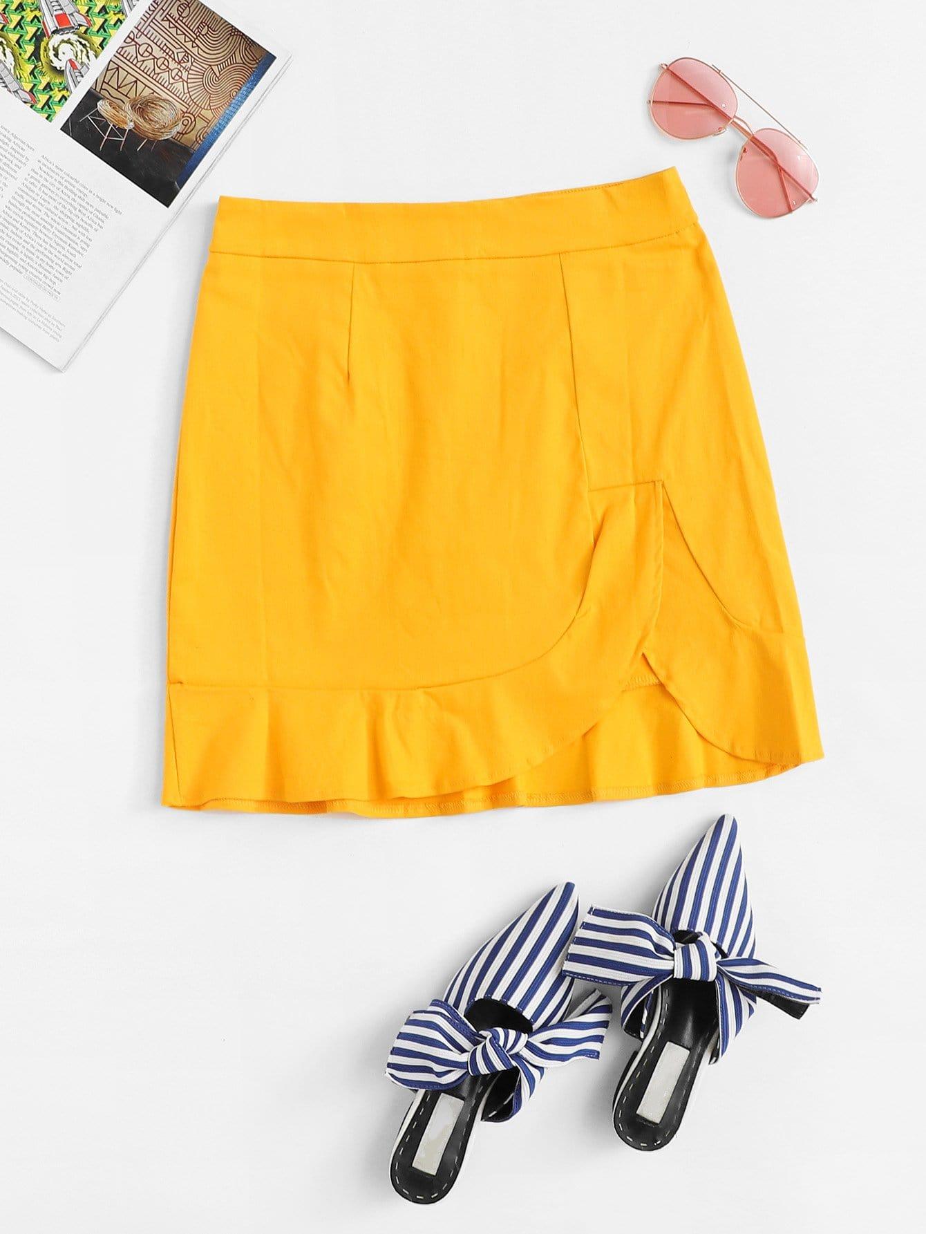 Solid Ruffle Hem Zipper Back Skirt