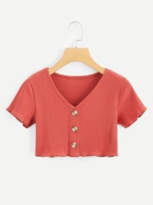 Solid Button Detail Ribbed Crop Tee