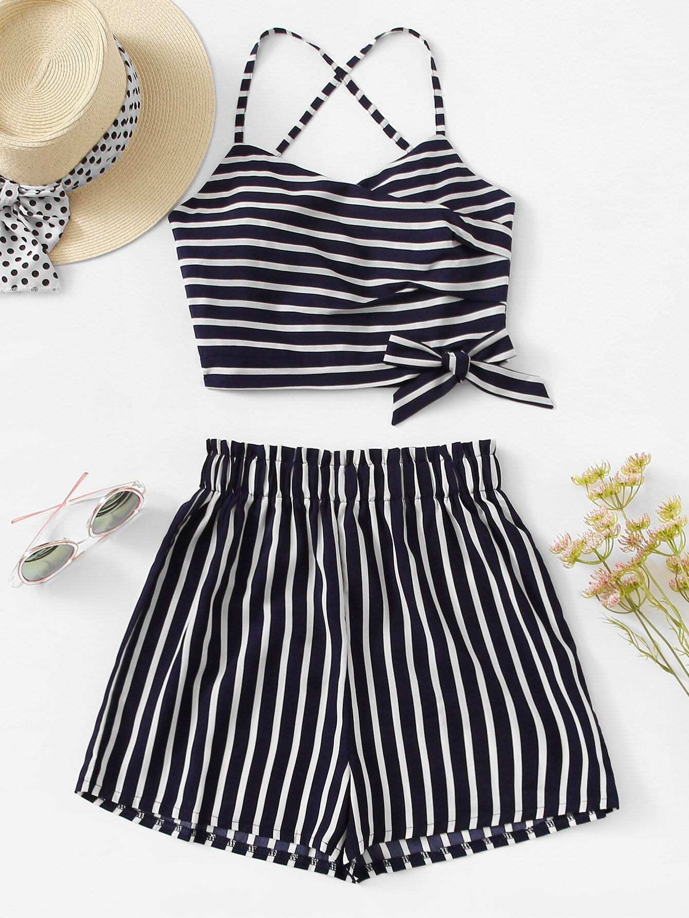 Knot Side Striped Cami With Shorts