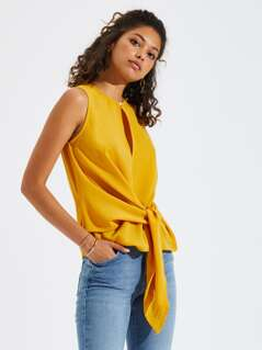Knot Front Solid Shell Top