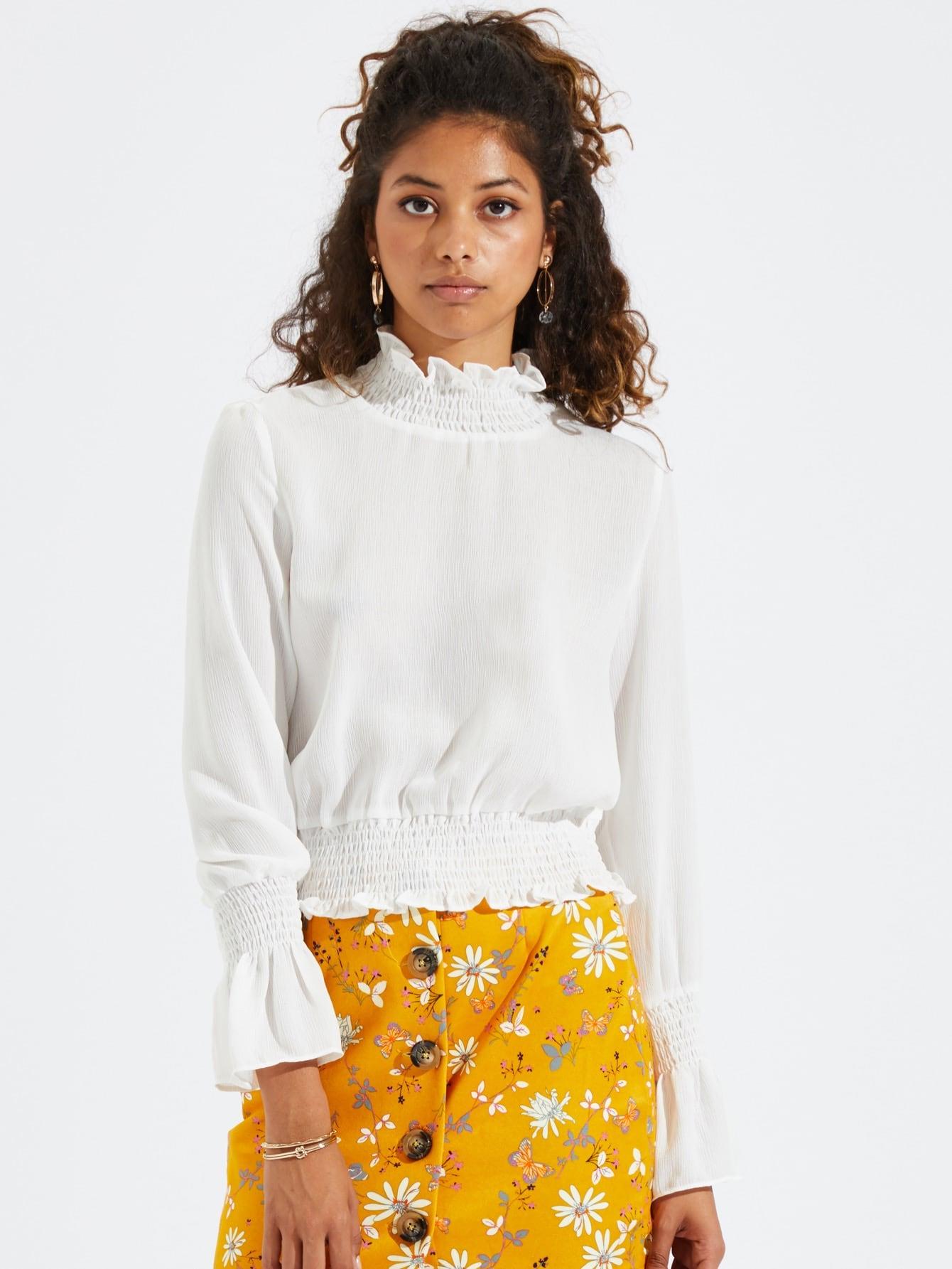 Купить Простая рубашка с кружевными оборками, Tiger Barros, SheIn