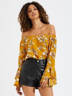 Floral Bardot Long Sleeve Blouse