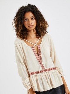 Crisscross V Neck Embroidery Ruffle Top