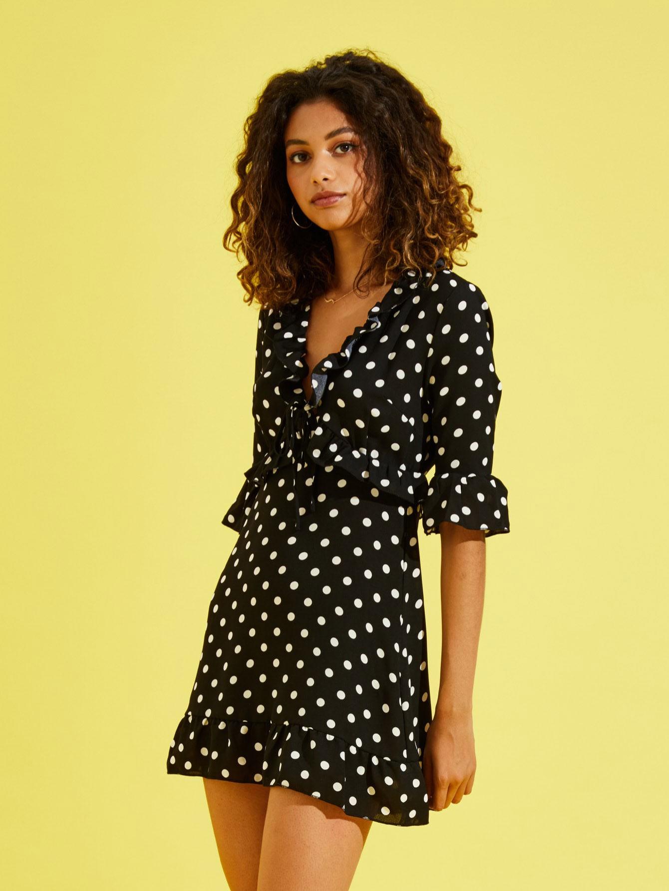 Купить Платье с рисунками точки и с кружевными оборками, Tiger Barros, SheIn