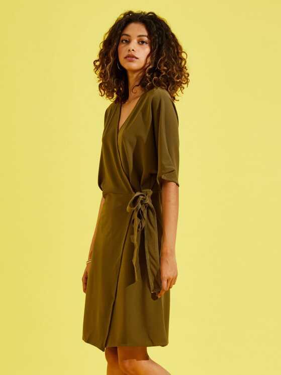 7f45c9abbe Knot Side Surplice Wrap Dress | MakeMeChic.COM