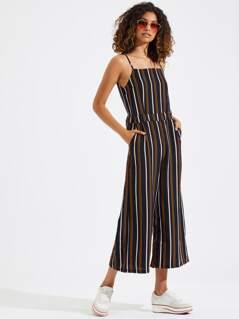 Vertical Stripe Straight Leg Cami Jumpsuit