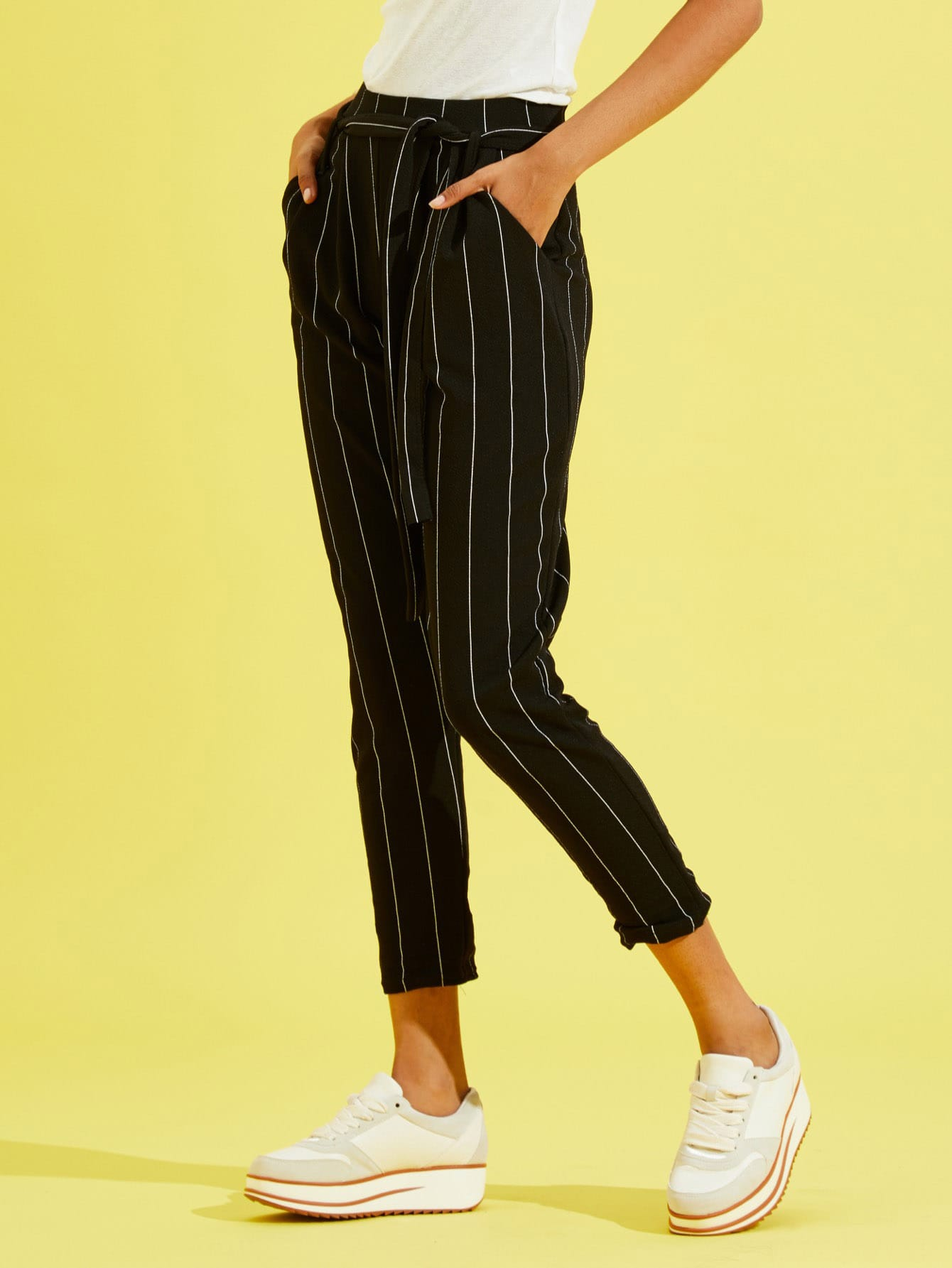 Купить Тонкие полосатые брюки клёш с поясом, Tiger Barros, SheIn