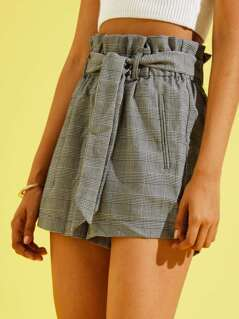 Belted Frill Waist Plaid Shorts