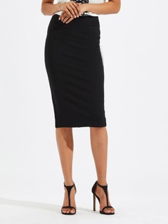 Slit Back Solid Pencil Skirt