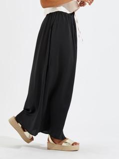 Wide Waistband Button Up Skirt