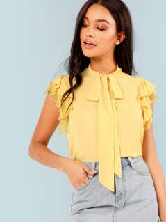Tie Neck Embroidered Mesh Ruffle Top