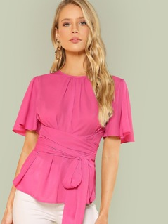 Butterfly Sleeve Belted Top