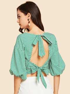 Tie Neck Striped Print Wrap Blouse