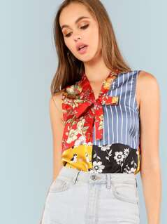 Tie Neck Cut and Sew Mixed Print Top