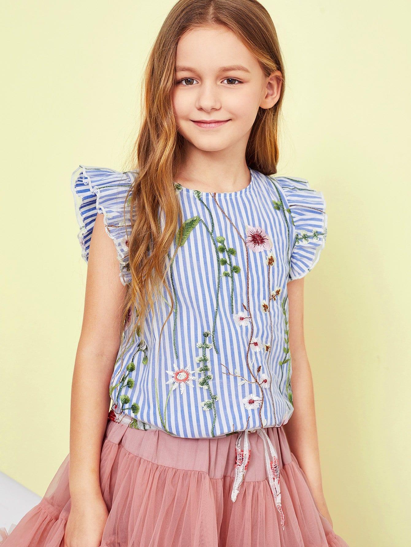 Girls Ruffle Armhole Sleeveless Embroidered Top girls spot embroidered sleeveless jumper