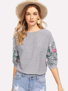 Flower Lantern Sleeve Striped Top
