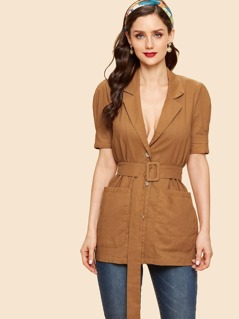 Button Up Pocket Patched Belted Top