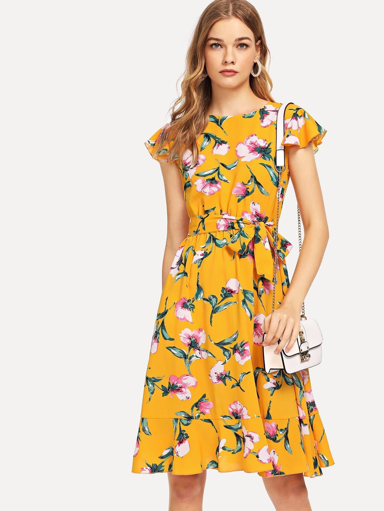 Flutter Sleeve Ruffle Hem Calico Print Dress tied v back ruffle hem calico top