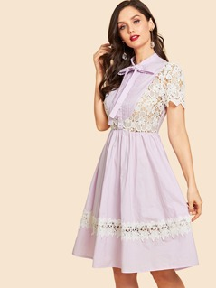 Button Front Contrast Lace A-Line Dress