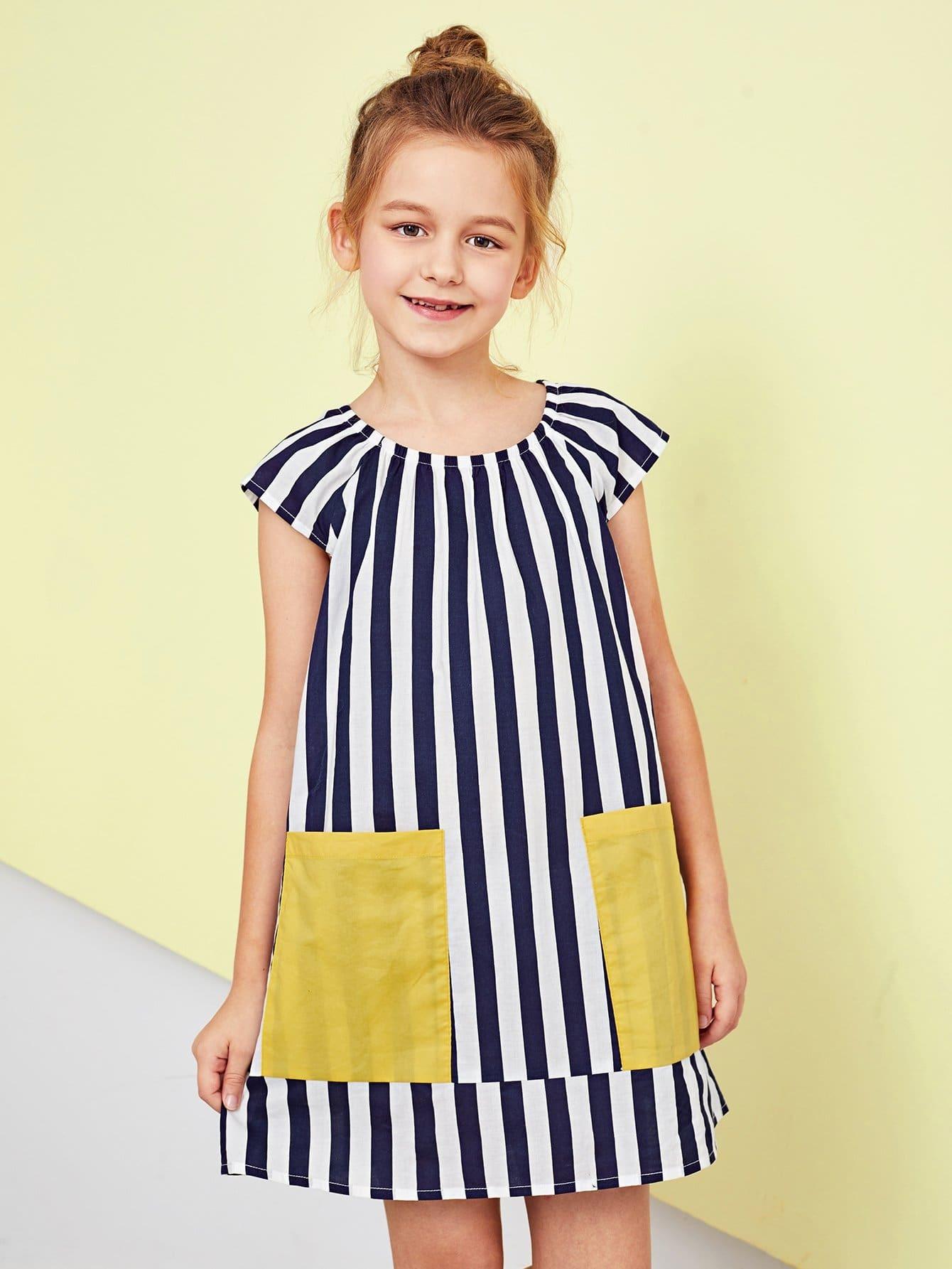 Girls Scoop Neck Pocket Striped Dress scoop neck striped stretchy dress