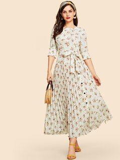 Self Belted Floral Print Pleated Hem Dress