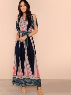 Waist Knot Geometric Print V-Neck Dress