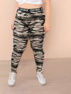 Plus Lettering Waist Striped Side Camo Leggings
