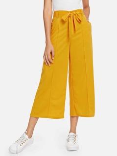 Pocket Side Belted Culotte Pants